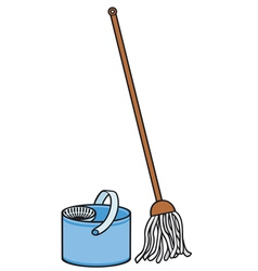 bucket and cleaning mop vector image vector image