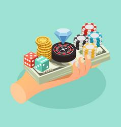 casino isometric background vector image vector image