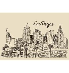 Las Vegas skyline engraved vector image