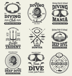 scuba diving vintage labels spearfishing vector image vector image