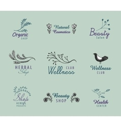 set of hand drawn vintage logos with vector image