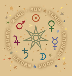 the septener star of the magicians seven planets vector image vector image