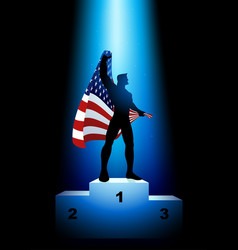 winner holding the flag of usa vector image vector image