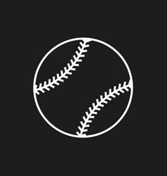 baseball line art icon on black background vector image vector image