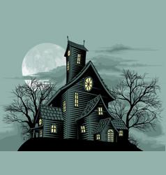 creepy haunted ghost house scene vector image