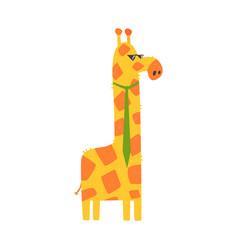 cute cartoon giraffe with green tie african vector image vector image