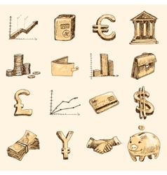 Finance icons set sketch gold vector image