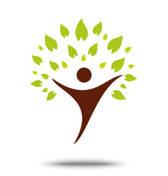 Green family tree sign and symbol eco concept vector