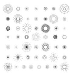 Round ornament set spirograph vector