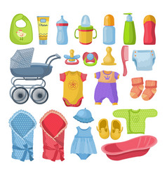 set of different tools for newborn baby vector image