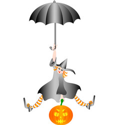 Witch halloween flying on umbrella with a pumpkin vector