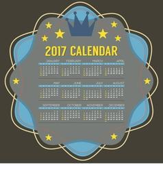 2017 Printable Calendar 12 Months Starts Sunday vector