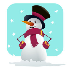 A happy snow man hands on hips vector