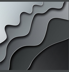 abstract curved grey wavy background paper cut vector image
