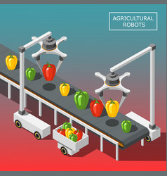 Agricultural robots isometric background vector