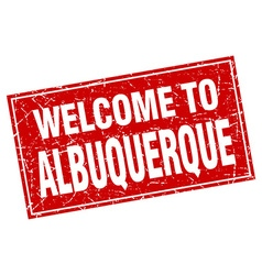 Albuquerque red square grunge welcome to stamp vector