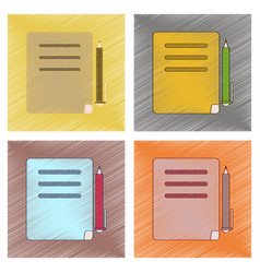 Assembly flat shading style icon notebook and pen vector