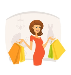 Beautiful pregnant woman with shopping bags vector image