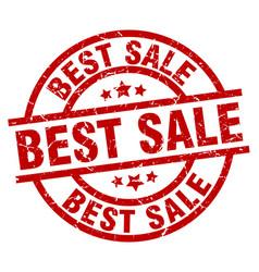 best sale round red grunge stamp vector image