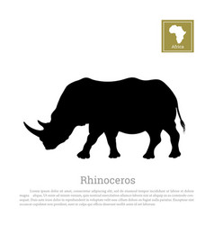 Black silhouette of a rhino on a white background vector