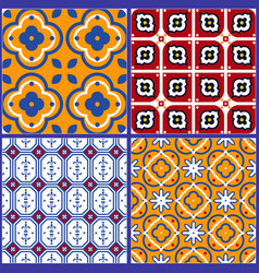 Blue and yellow spanish seamless ceramic tile vector