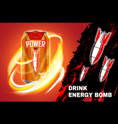Bomb energy drink ad vector