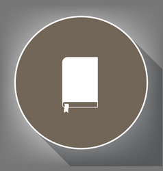 Book sign white icon on brown circle with vector