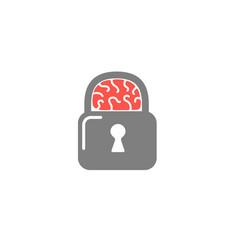 brain lock logo vector image