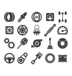 Car parts black icons vector
