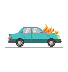 Car with burning engine vector