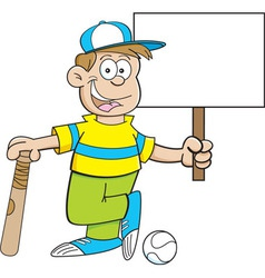 Cartoon boy wearing a baseball hat and holding a s vector