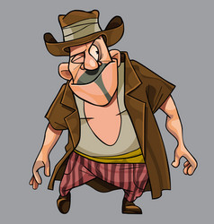 Cartoon funny with a cunning squinting man a vector