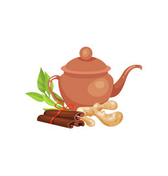 ceramic teapot blackberry and fresh lime and vector image