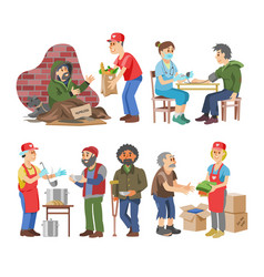 charity volunteer people caring elderly vector image