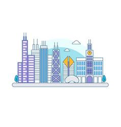 chicago illinois skyline flat line vector image