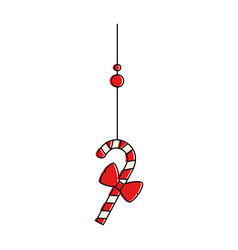 christmas cane hanging decorative icon vector image