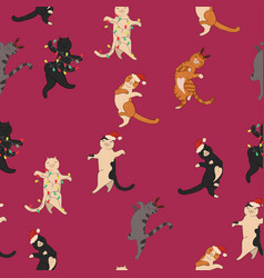 christmas cats dance seamless pattern graphics vector image