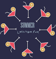 cocktail summer party background flat vector image
