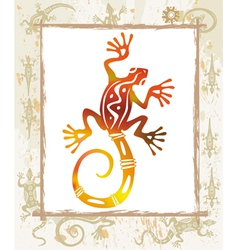 Color lizard in a frame vector