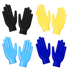 Colorful cartoon disposable nitrile gloves set vector