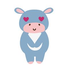 Colorful cute and enamored hippopotamus wild vector