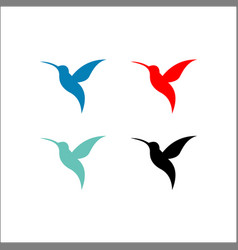 Colorful flying hummingbirds set isolated on vector
