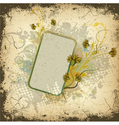 Colorful grunge floral frame vector