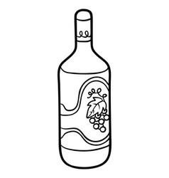 Coloring book bottle wine vector