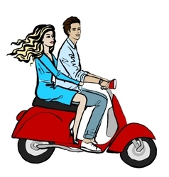 couple driving scooter vector image