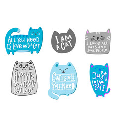 crazy love cat lady shirt quote lettering vector image
