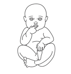 Cute baby boy or girl line style on white vector