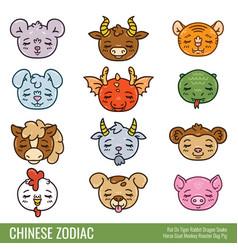 Cute chinese zodiac vector