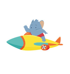 cute elephant flying an airplane funny pilot vector image