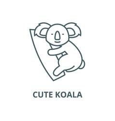 cute koala line icon cute koala outline vector image